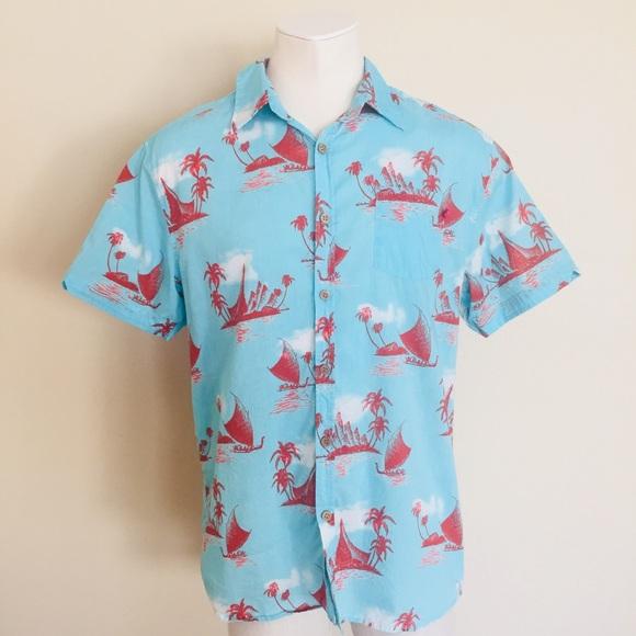 33b2c118 Lost at Sea Other - Lost at Sea Aqua & Red Short Sleeve Hawaiian Shirt